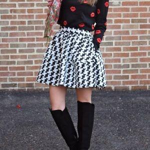 Express Houndstooth Full Skirt Black White